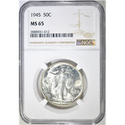 1945 WALKING LIBERTY HALF DOLLAR, NGC MS-65