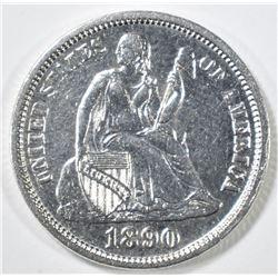1890 SEATED LIBERTY DIME AU/BU