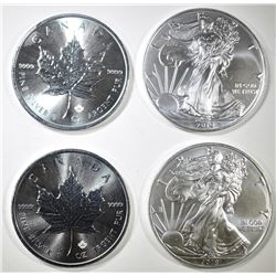 2-CANADA MAPLE LEAF & 2-2019 ASE 1oz SILVER COINS
