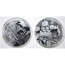 2-NIUE ONE OUNCE SILVER STAR WARS COINS