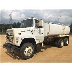 1995 FORD L8000 WATER TRUCK, VIN/SN:1FDYW82E6SVA19291 - T/A, FORD DIESEL, 6 SPEED TRANS, 48,600LB GV