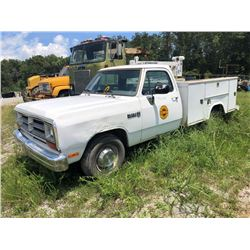 1991 DODGE 2500 MECHANICS TRUCK, VIN/SN:4LS679597 - GAS A/T, STAHL BODY, LIFTMORE 2700 CRANE, (COUNT