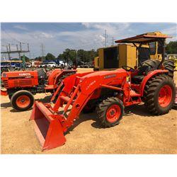 KUBOTA L4600 FARM TRACTOR, VIN/SN:55205 - MFWD, LA674 FRONT LOADER, CANOPY, 14.9-24 TIRES, METER REA