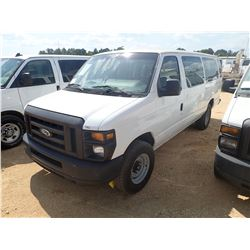 2012 FORD E350 PASSENGER VAN, VIN/SN:1FBSS3BL9CDB30761 - V8 GAS ENGINE, A/T, ODOMETER READING 208,85