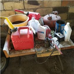 VINTAGE TABLE LOT WITH OLD GAS CAN