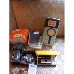 LOT OF VINTAGE CAMERAS, 8 TRACK STEREO, MOVIE LIGHT