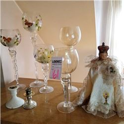 INFANT OF PRAGUE DOLL (1), GLASS STEMWARE (4), CANDLE HOLDERS (2)