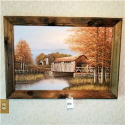 SIGNED  K. MICHALESON COVERED BRIDGE OIL ON CANVAS