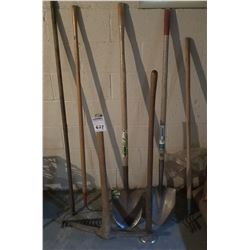 LOT OF A BAR, PICK, RAKE, TAMPER, SHOVELS
