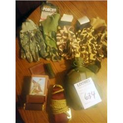 LOT OF GLOVES, CANTEEN, MISC