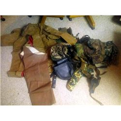 LOT OF CAMO BAGS, RAIN COAT, RAIN GEAR
