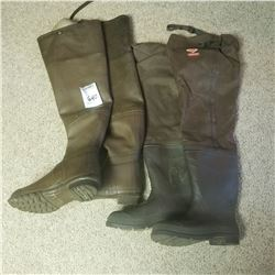 BUNDLE LOT: 2 PAIR OF FISHING WADERS SIZE 11 / 2 PAIR OF BOOTS SIZE 10 1/2