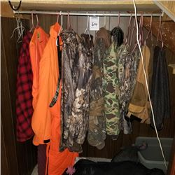 LOT OF 6 HUNTING COATS AND 6 PANTS, MORE