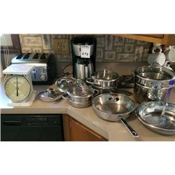 LOT OF SCALES, TOASTER, COFFEE MAKER, SKILLETS, POTS AND LIDS