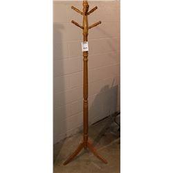 BUNDLE LOT: OAK STAINED WOOD HALL TREE / FOLDING TABLE, STOOL, MILK CAN