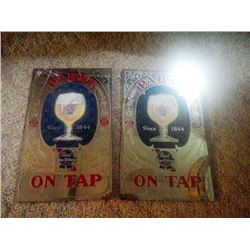2 X PABST BLUE RIBBON MIRROR / SIGNS