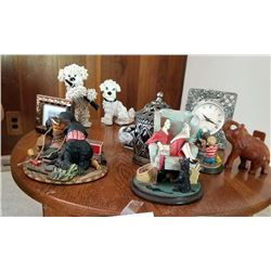 LOT OF COLLECTIBLE FIGURINES, FRAME, CARVED ELEPHANT