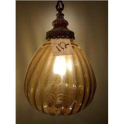 MID CENTURY VINTAGE BLOWN GLASS HANGING LAMP