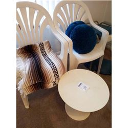 MOLDED RESIN INDOOR/OUTDOOR CHAIRS AND TABLE