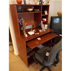 COMPUTER DESK WITH SHELVING AND OFFICE CHAIR