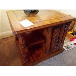 NICE END TABLE WITH CABINET AND SHELVING