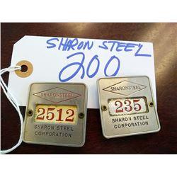 VINTAGE SHARON STEEL ID BADGES X 2 IN LOT