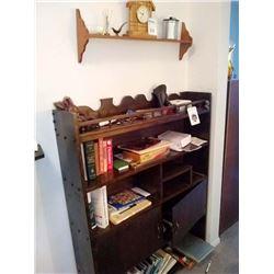 LARGE LOT SHELVES, CLOCK, BOOKS , ETC