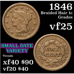 braid hair style 1846 braided hair large cent 1c grades vf 1846 | 33509856 1m