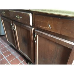 Wood counter w/slides drawers, 3 cabinet doors, with laminate top plus has a square hole for sink, W