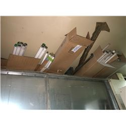 "Assorted 4 cases fluorescent light bulbs plus 6 - 1"" pipe and 4 - 1 1/2"" pipe"