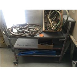 Cart w/2 acetylene hoses (one newer one) plus 1 smaller hose