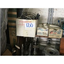 4 shelves of used misc. engines, clutches, brake & transmission parts