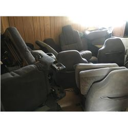 Room full of vehicle seats, benches, box of pass upper closed bin w/USB, glove box & interior pieces