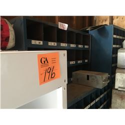 4 large blue metal part compartment shelves and 3 smaller, several large & small metal bins, 2 - 5 s