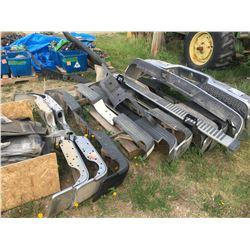 Pallet w/mud flaps, floor mats, 12 various rear & 1 front bumper, 2 - side step (running boards)