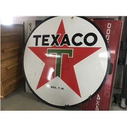 6' round Texaco sign (metal) - fits in Antique iron sign frame sold separately in lot 214