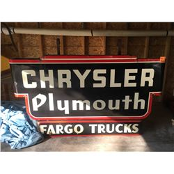 "Approx 1952 Chrysler Plymouth ""Fargo Trucks"" sign original to E& D Motors, 6 ft wide & 45 ft"