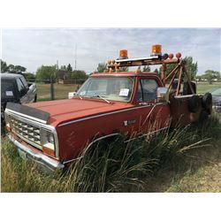 Dodge Ram Custom Tow Truck No VIN# for Salvage, original E& D Motors, w/keys