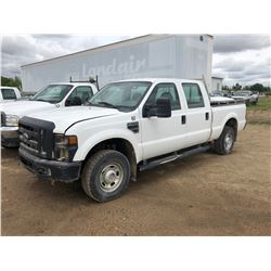 2010 Ford F250 XLT Super Duty white, 3/4 ton, 5.4 LTR V8, 24 valve, Mileage 108279, needs repairs