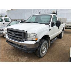 2004 Ford F250 3/4 Ton XLT Super Duty, white, 4x4, AC, C, PS, PB, mileage 122580