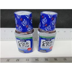 2 New Cold & Flu Nighttime 4 floz Cherry flavor / Factory sealed 04/2019.