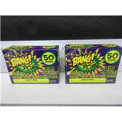 2 New packs of BANG! Pops / 50 per pack / drop em or throw em - BANG!
