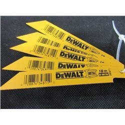 """5 New DeWalt 6"""" Bi-Metal Recip/Sawzall Blades / DW4811"""