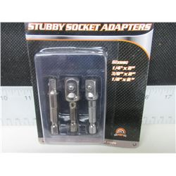 "New 3 piece set of Stubby Socket Adaptors / 1/4"" - 3/8"" and 1/2"""