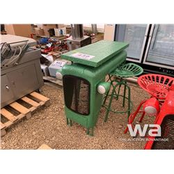 GREEN TRACTOR BISTRO TABLE & 2 SWIVEL STOOLS