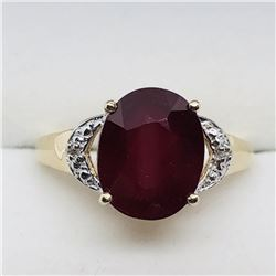 GOLD PLATED SIL RUBY DIAMOND RING SIZE 9