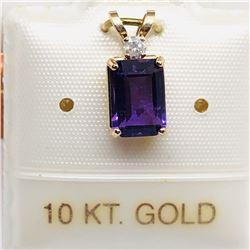 10K AMETHYST & DIAMOND PENDANT