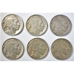 6 BUFFALO NICKELS MOSTLY VF