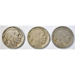 1917-P,D,S BUFFALO NICKELS MOSTLY VG/F