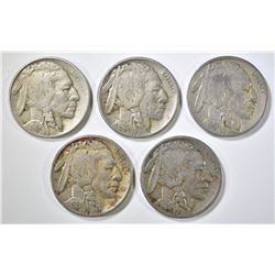 1919-P,S, 20-P,D, 21 BUFFALO NICKELS F-VF